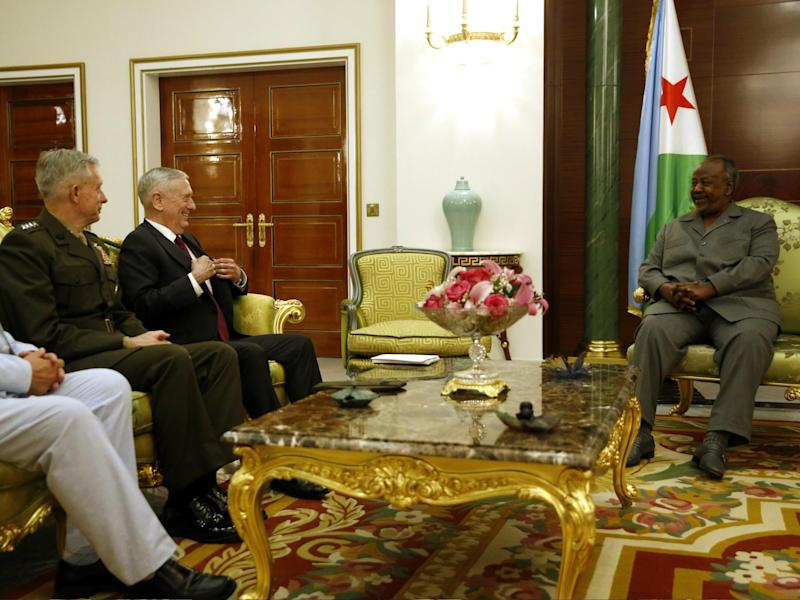 Djibouti's President Ismail Omar Guelleh welcomed US Defence Secretary James Mattis and U.S. Marine Corps General Thomas Waldhauser at the Presidential Palace on 23 April 2017 in Djibouti: Jonathan Ernst-Pool/Getty Images