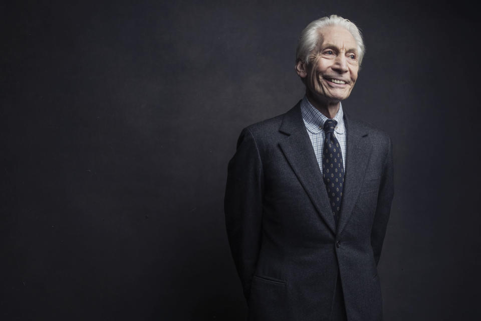 """FILE - Charlie Watts, of the Rolling Stones, poses for a portrait on Nov. 14, 2016, in New York. Watts will likely miss the band's upcoming U.S. tour to allow him to recover from an unspecified medical procedure. A spokesperson for the musician said Wednesday, Aug. 4, 2021, the procedure was """"completely successful"""" but that Watts needs time to recuperate. (Photo by Victoria Will/Invision/AP, File)"""