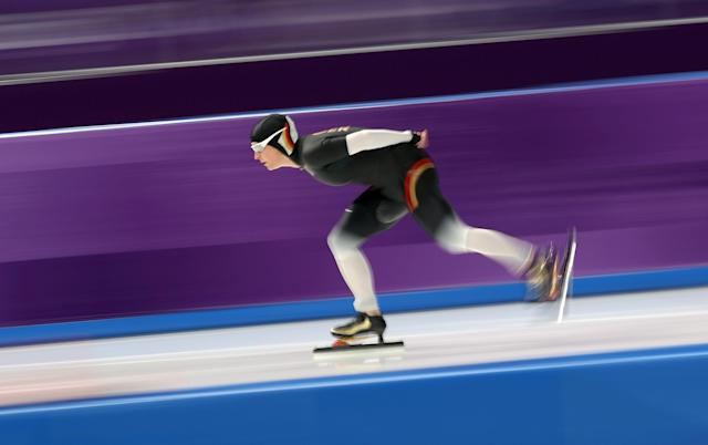Speed Skating - Pyeongchang 2018 Winter Olympics - Women's 5000 m competition finals - Gangneung Oval - Gangneung, South Korea - February 16, 2018 - Claudia Pechstein of Germany competes. REUTERS/Lucy Nicholson