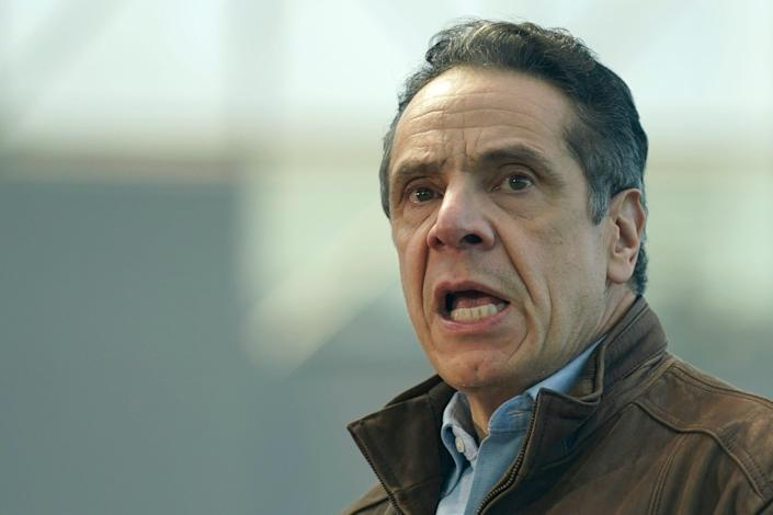 New York Gov. Andrew Cuomo speaks at a vaccination site on Monday, March 8, 2021, in New York