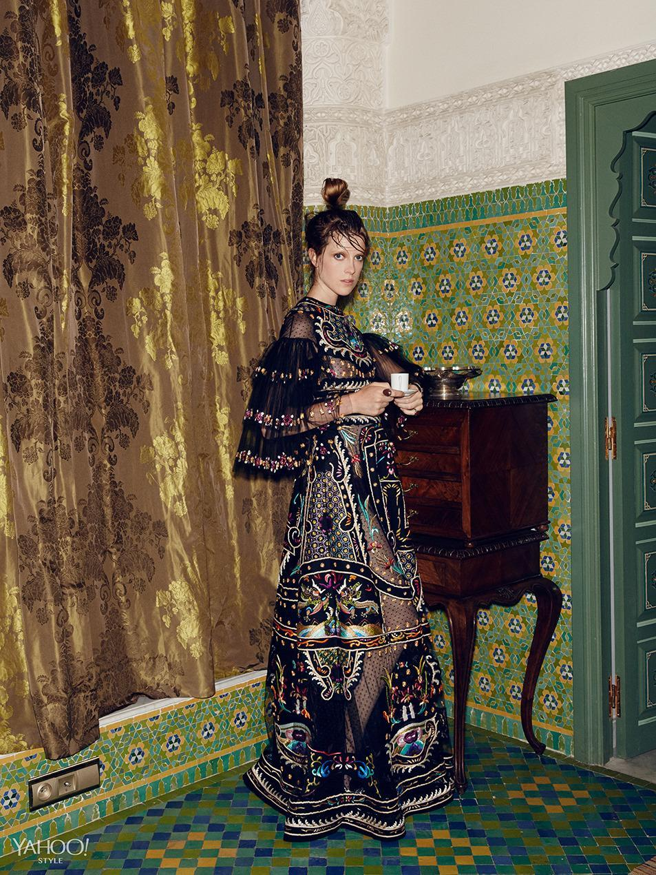 """<p>Big skirts, big hair, even bigger sleeves—volume in unexpected places, like the bell sleeves of this embroidered Valentino gown, is guaranteed to turn heads.<br>Valentino Orient Embroidery Gown, $39,000, <a href=""""http://www.valentino.com/us"""" rel=""""nofollow noopener"""" target=""""_blank"""" data-ylk=""""slk:valentino.com"""" class=""""link rapid-noclick-resp"""">valentino.com</a><br>New York Vintage Rings, Price Upon Request, <a href=""""http://newyorkvintage.com/"""" rel=""""nofollow noopener"""" target=""""_blank"""" data-ylk=""""slk:newyorkvintage.com"""" class=""""link rapid-noclick-resp"""">newyorkvintage.com</a><br>New York Vintage Bracelet, Price Upon Request, <a href=""""http://newyorkvintage.com/"""" rel=""""nofollow noopener"""" target=""""_blank"""" data-ylk=""""slk:newyorkvintage.com"""" class=""""link rapid-noclick-resp"""">newyorkvintage.com</a><br>Location: <a href=""""http://www.palaisfaraj.com/NS/"""" rel=""""nofollow noopener"""" target=""""_blank"""" data-ylk=""""slk:Palais Faraj Suites & Spa"""" class=""""link rapid-noclick-resp"""">Palais Faraj Suites & Spa</a><br></p>"""