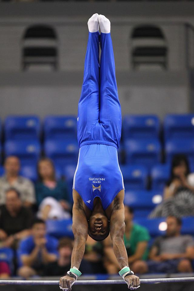 ST. LOUIS, MO - JUNE 9: John Orazco competes on the high bar during the Senior Men's competition on Day Three of the Visa Championships at Chaifetz Arena on June 9, 2012 in St. Louis, Missouri. (Photo by Dilip Vishwanat/Getty Images)