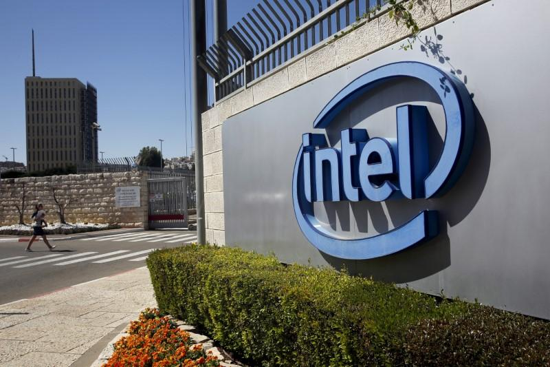 The logo of Intel, the world's largest chipmaker is seen at their offices in Jerusalem