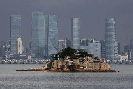 FILE PHOTO - Shiyu, or Lion Islet, which is part of Kinmen county, one of Taiwan's offshore islands, is seen in front of China's Xiamen, on Lieyu island, Kinmen county