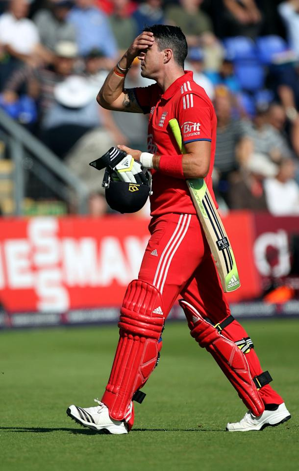 England's Kevin Pietersen makes his way off after being dismissed by Australia's Clint Mackay during the fourth one day international at the SWALEC Stadium, Cardiff.