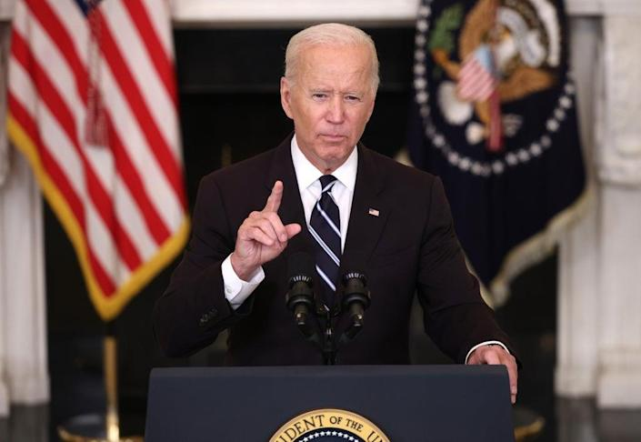 President Joe Biden speaks about combatting the coronavirus pandemic in the State Dining Room of the White House on 9 September 2021 in Washington DC (Getty Images)