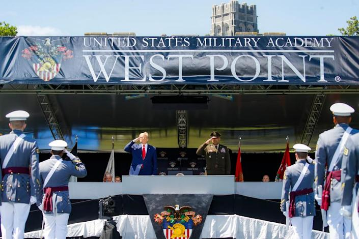 "<span class=""element-image__caption"">Trump at West Point earlier this month.</span> <span class=""element-image__credit"">Photograph: John Minchillo/EPA</span>"