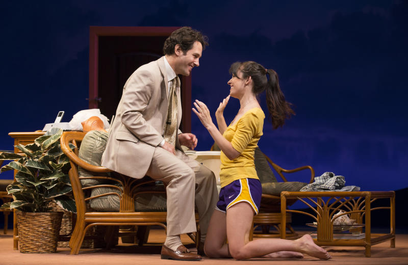 "This theater image released by The O + M Company shows Paul Rudd, left, and Kate Arrington during a performance of ""Grace,"" at the Cort Theatre in New York. (AP Photo/The O + M Company, Joan Marcus)"