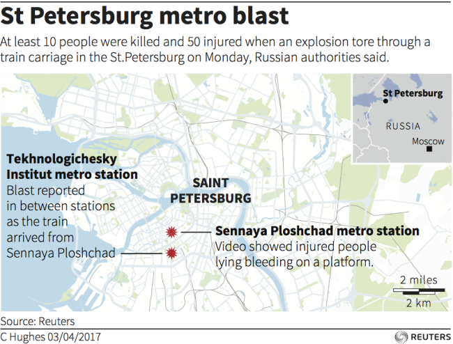 St Petersburg Russian Subway Map.Russian Media St Petersburg Explosion Was Carried Out By A Suicide