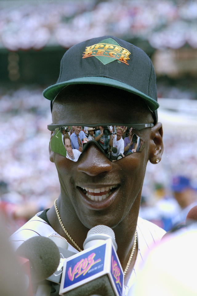 Michael Jordan speaks to the press prior to the 1993 Major League Baseball All-Star Game at Oriole Park at Camden Yards in Baltimore. (Ap Photo/Diamond Images)