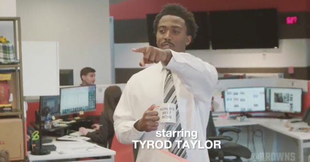 "Tyrod Taylor is the office manager in the Browns' remake of ""the Office"" (from @Browns on Twitter)"