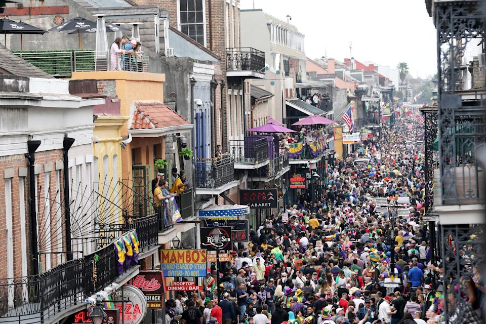 Bourbon Street is a sea of humanity on Mardi Gras day in New Orleans on Feb. 25, 2020.