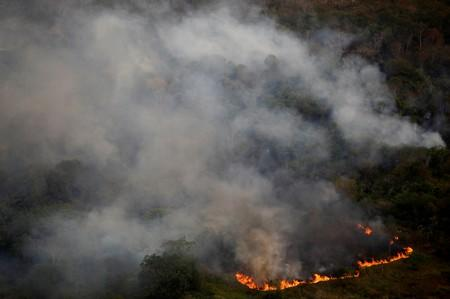 Smoke billows during a fire in an area of the Amazon rainforest near Porto Velho