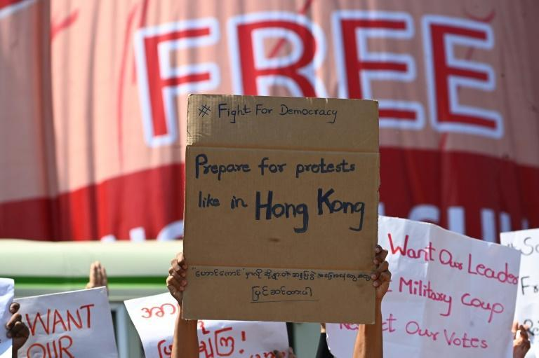 Social media has allowed Myanmar protesters to connect with Hong Kong and Thai users who have swapped tips on how to stay safe both physically and digitally