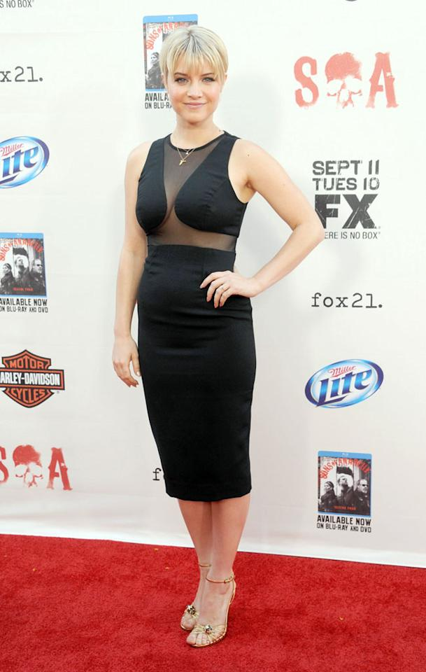 "Sarah Jones attends the ""Sons of Anarchy"" Season 5 premiere screening at Westwood Village on September 8, 2012 in Los Angeles, California."