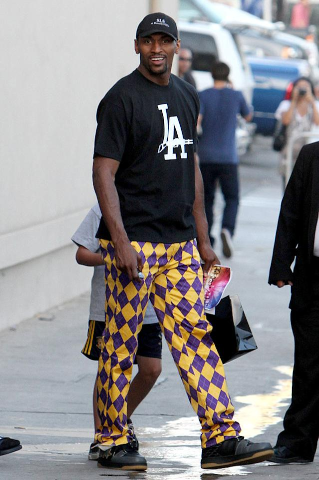"""NBA star Ron Artest showed off his Laker pride in jester-like trousers while paying a visit to """"Jimmy Kimmel Live."""" We get it, you won the championship. Now, get a change of clothes. Anthony/<a href=""""http://www.pacificcoastnews.com/"""" target=""""new"""">PacificCoastNews.com</a> - June 18, 2010"""