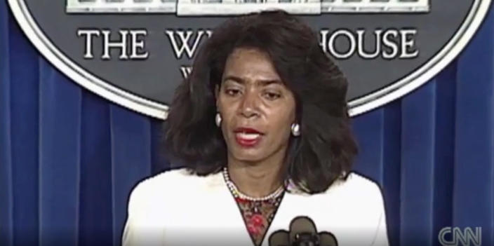 White House Assistant Press Secretary Judy Smith briefs the press in the White House Briefing Room in 1991. (Screengrab from video: via George H. W. Bush Presidential Library)
