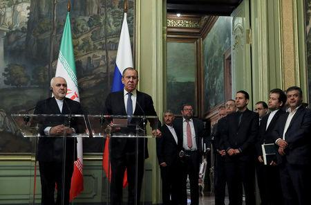 Russian Foreign Minister Sergei Lavrov and his Iranian counterpart Mohammad Javad Zarif attend a news conference in Moscow, Russia May 8, 2019. REUTERS/Evgenia Novozhenina