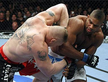 The main event featuring Brock Lesnar (L) and Alistair Overeem was likely the UFC's biggest or second-biggest show of 2011