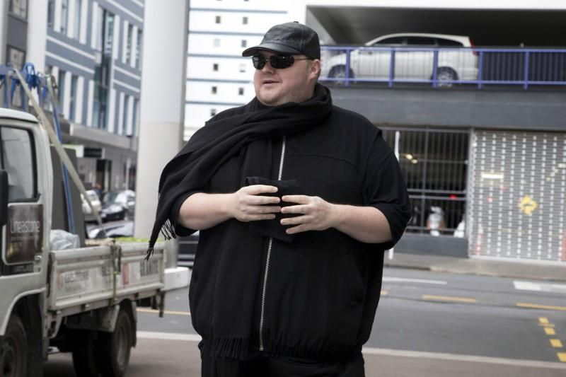 German tech entrepreneur Kim Dotcom arrives for a court hearing in Auckland, New Zealand