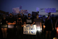 Protesters block traffic on the highway during protests Saturday, June 13, 2020, near the Atlanta Wendy's where Rayshard Brooks was shot and killed by police Friday evening following a struggle in the restaurant's drive-thru line in Atlanta. (AP Photo/Brynn Anderson)
