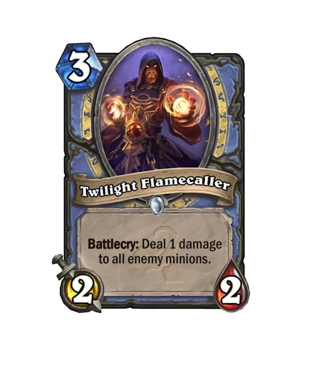 <p>3 mana for a 2/2 is terrible, but the added bonus of a nice little Arcane Explosion to back it up is nothing to sneeze at. Able to shut down Face Hunter with ease, Twilight Flamecaller will see play if aggro decks dominate the ladder.</p>