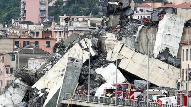 PHOTO: The collapsed Morandi Bridge is seen in the Italian port city of Genoa, Italy, Aug. 14, 2018. (Stefano Rellandini/Reuters)