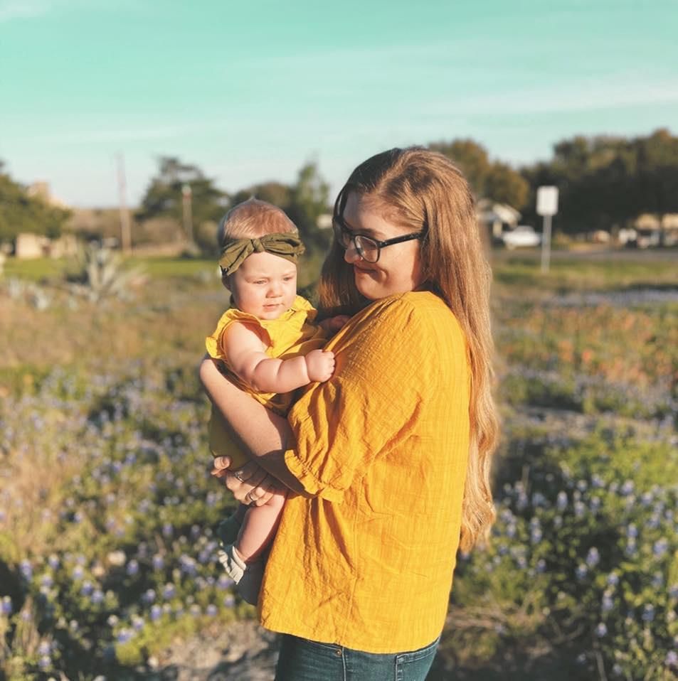 Jamie Waggoner pictured with her baby.