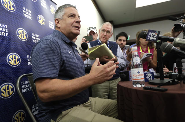 Auburn's Bruce Pearl answers questions during SEC media day last month. (AP)