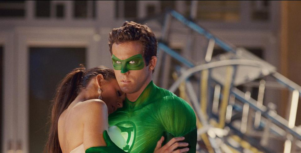 Ryan Reynolds as Hal Jordan in Green Lantern and Blake Lively as Carol Ferris (2011) (Warner Bros.)