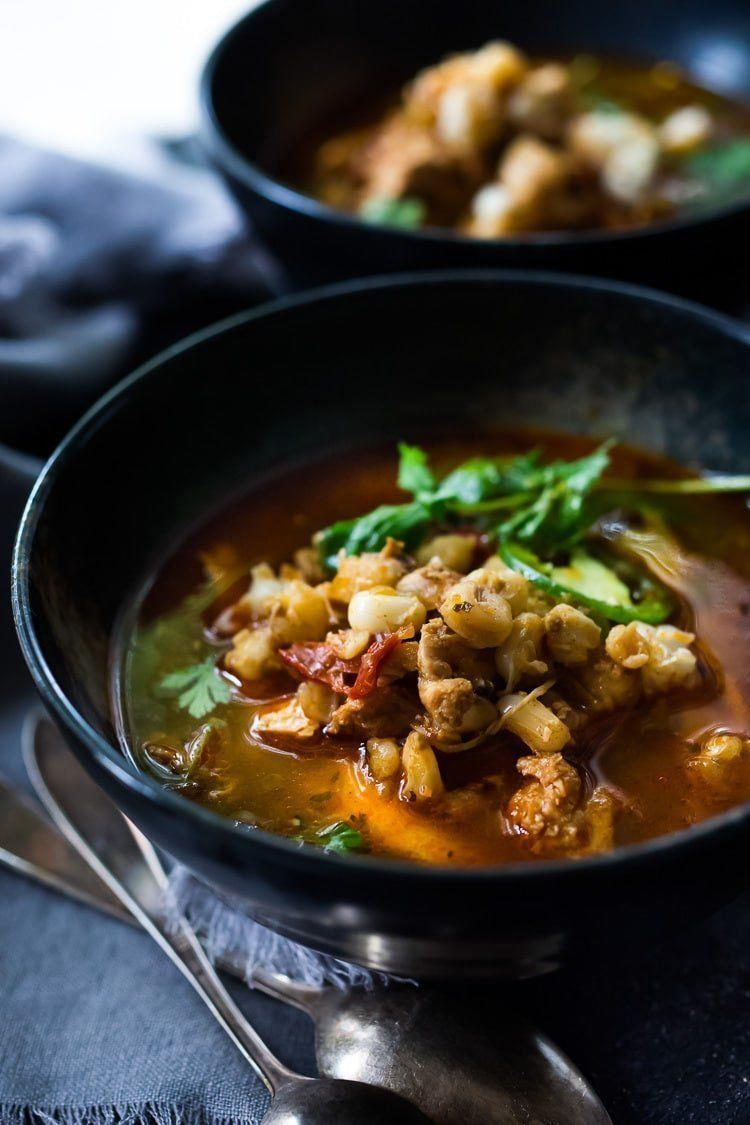 "<strong>Get the <a href=""https://www.feastingathome.com/pozole-recipe/"" rel=""nofollow noopener"" target=""_blank"" data-ylk=""slk:Instant Pot Chicken Pozole"" class=""link rapid-noclick-resp"">Instant Pot Chicken Pozole</a> recipe from Feasting At Home.</strong>"