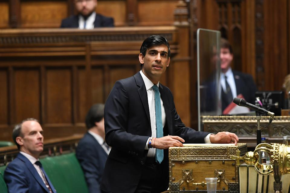 Britain's chancellor of the exchequer Rishi Sunak giving a speech in the House of Commons in London. Photo: UK Parliament/Jessica Taylor/Handout via Reuters