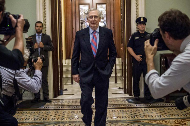 Senate Majority Leader Mitch McConnell leaves the floor during votes concerning the Republican version of the healthcare bill on Capitol Hill in Washington, DC on July 27, 2017. (Photo: Melina Mara/The Washington Post via Getty Images)