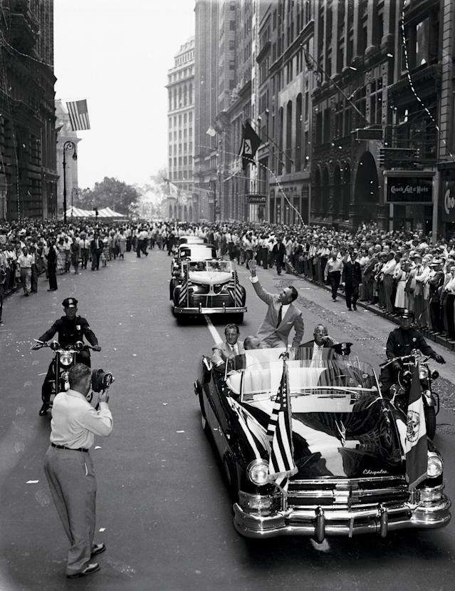 """<div class=""""caption""""> After winning the 1953 Masters, U.S Open and Open Championship (at Carnoustie, above), Hogan received a ticker-tape parade in New York City. </div> <cite class=""""credit"""">Bettmann</cite>"""