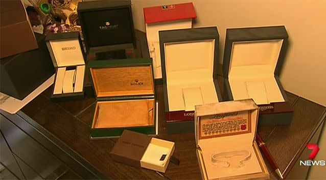 Approximately $20,000 worth of watches were taken from the first household. Photo: 7 News