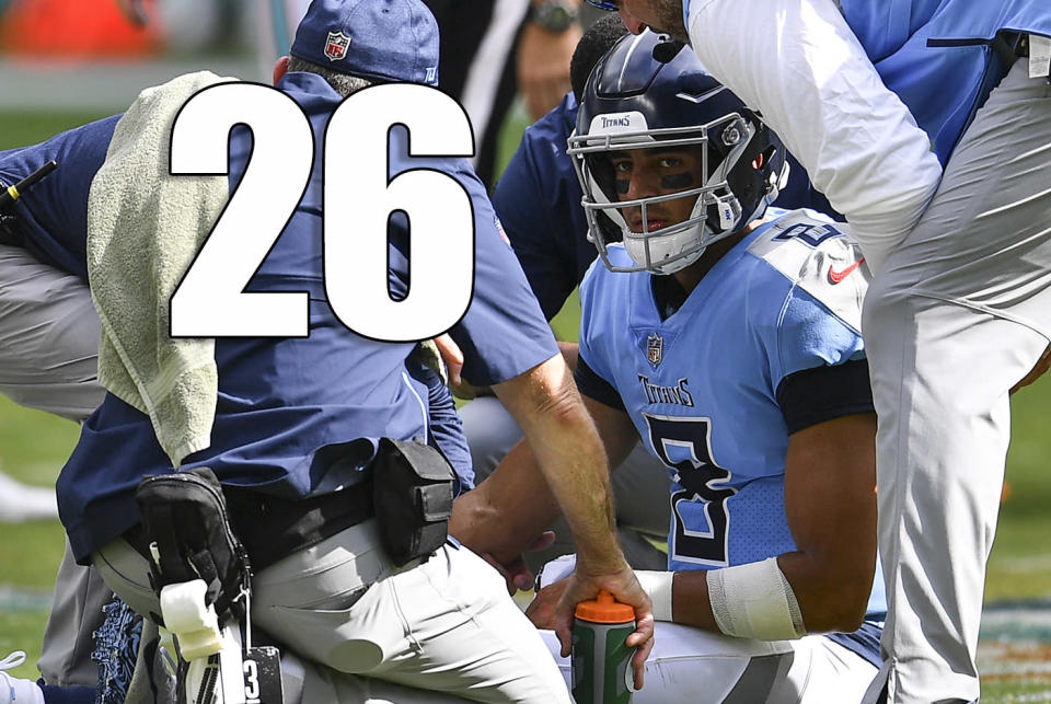 <p>Marcus Mariota, Taylor Lewan and Delanie Walker all got hurt in Sunday's loss to the Dolphins. What a bad way to start the season. (Marcus Mariota) </p>