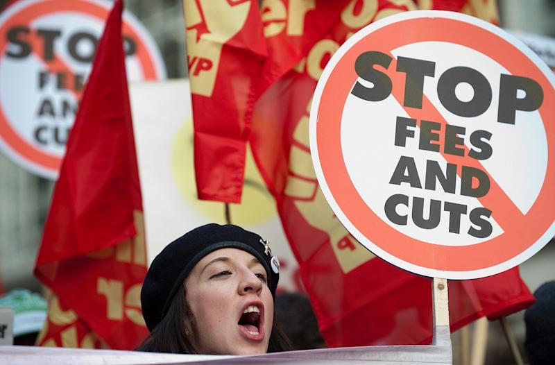 The Coalition Government's decision to triple tuition fees was met with angry protests from students: Getty Images