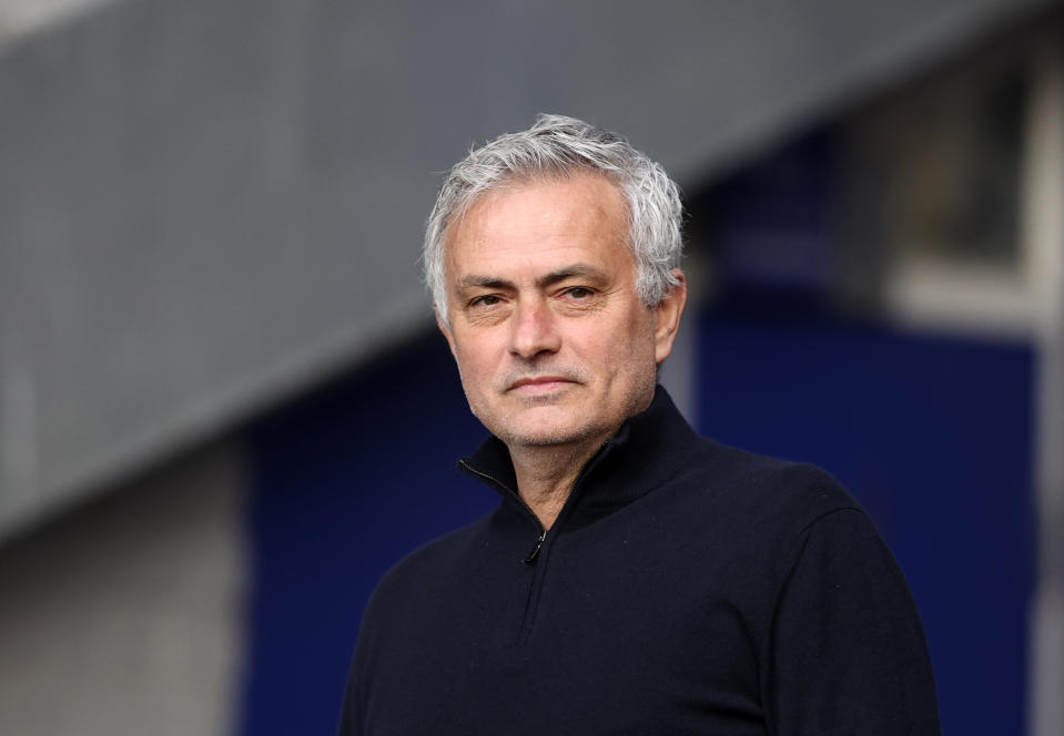 Tottenham's manager Jose Mourinho looks on during warm up before the English Premier League soccer match between Everton and Tottenham Hotspur at Goodison Park in Liverpool, England, Friday, April 16, 2021. (Clive Brunskill/Pool via AP)