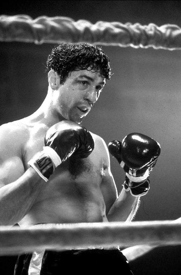 "<a href=""http://movies.yahoo.com/movie/1800109559/info"">Raging Bull</a> (1980): Well, of course we have to start here. Greatest boxing movie ever? That's not too much of a stretch. What more can we say that hasn't already been said? It's all so obvious. Robert De Niro famously transformed himself inside and out, packing on the muscle to play the volatile former middleweight champion Jake La Motta. In gorgeous, intimate black-and-white with its haunting title sequence, this may just go down as Martin Scorsese's brutal masterpiece. It earned Academy Awards for De Niro (best actor) and for Thelma Schoonmaker's editing, but was criminally robbed of the best-picture prize, which went to ""Ordinary People."""