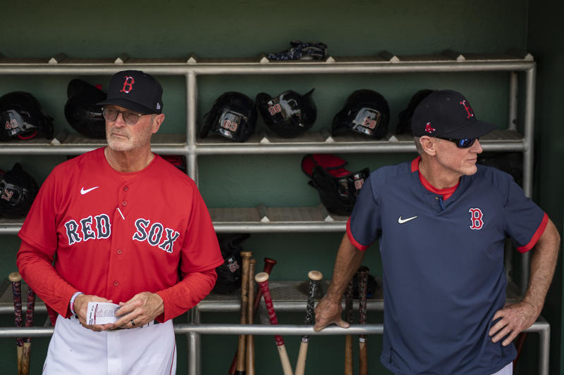 FT. MYERS, FL - FEBRUARY 25: Bench Coach Jerry Narron and interim manager Ron Roenicke of the Boston Red Sox look on before a Grapefruit League game against the Baltimore Orioles on February 25, 2020 at jetBlue Park at Fenway South in Fort Myers, Florida. (Photo by Billie Weiss/Boston Red Sox/Getty Images)