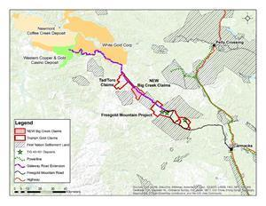 Location map of the new Big Creek claims (the property subject to the above referenced agreement with Teck), approximately 15 kilometres northwest of Triumph Gold's flagship Freegold Mountain Project, and contiguous with Triumph Gold's Tad/Toro Property to the northwest. The Planned Resource Gateway Road extension is outlined in purple.