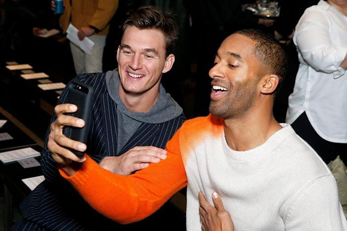 Tyler Cameron (L) and Matt James attend the Todd Snyder show during New York Fashion Week Men's at Pier 59 Studios on February 05, 2020 in New York City. (Photo by Dominik Bindl/Getty Images)