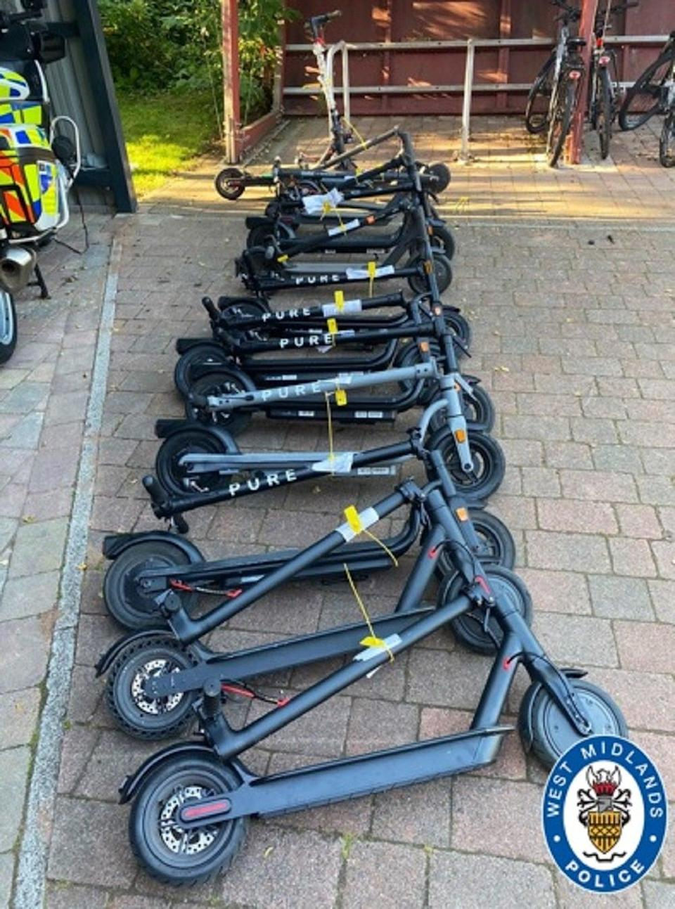 E-scooters seized by West Midlands Police (West Midlands Police/PA)