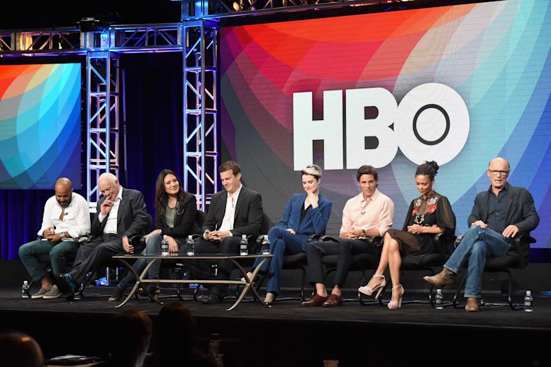 BEVERLY HILLS, CA - JULY 30: (L-R) Actors Jeffrey Wright, Sir Anthony Hopkins, Executive producer/writer Lisa Joy, Director/executive producer/writer Jonathan Nolan, actors Evan Rachel Wood, James Marsden, Thandie Newton and Ed Harris speak onstage during the 'Westworld' panel discussion at the HBO portion of the 2016 Television Critics Association Summer Tour at The Beverly Hilton Hotel on July 30, 2016 in Beverly Hills, California. (Photo by Jeff Kravitz/FilmMagic)