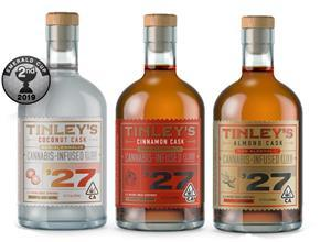 Tinley's™ '27 elixirs Coconut Cask, Cinnamon Cask and Almond Cask, which will be manufactured by Peak in Canada (California packaging shown)