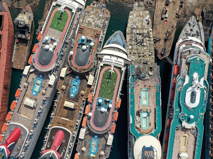 A drone image shows decommissioned cruise ships being dismantled at Aliaga ship-breaking yard in the Aegean port city of Izmir, western Turkey, October 2, 2020. REUTERS/Umit Bektas