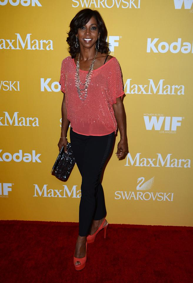 BEVERLY HILLS, CA - JUNE 12:  Actress Holly Robinson Peete arrives at the 2012 Women In Film Crystal + Lucy Awards at The Beverly Hilton Hotel on June 12, 2012 in Beverly Hills, California.  (Photo by Frazer Harrison/Getty Images)