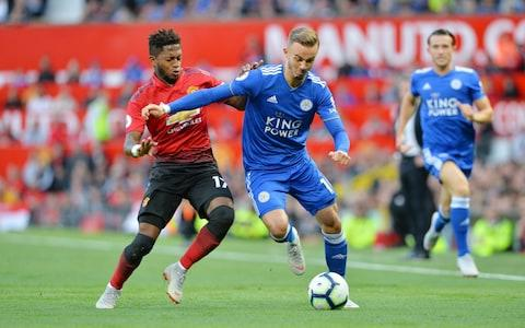 MANCHESTER, ENGLAND - AUGUST 10: James Maddison of Leicester City in action with Fred of Manchester United during the Premier League match between Manchester United and Leicester City at Old Trafford on August 10, 2018 in Manchester, United Kingdom - Credit: Getty Images