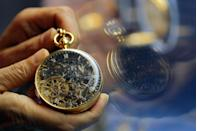 "<p>If you happen to find one of these beautiful timepieces tucked away at a garage sale you might want to buy it. Pocket watches can sell for mega-money, like the world's most expensive, a 1920 Patek Philippe Supercomplication. In 2014 it sold for <a href=""https://www.forbes.com/sites/arieladams/2014/11/12/24000000-patek-philippe-supercomplication-pocket-watch-beats-its-own-record-at-auction/"" rel=""nofollow noopener"" target=""_blank"" data-ylk=""slk:$24-million"" class=""link rapid-noclick-resp"">$24-million</a>.</p>"