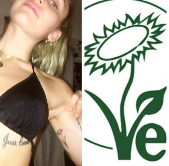 """<p>Meanwhile, Miley showed off her new vegan tattoo. She's totally committed. """"Vegan for life!"""" (Photo: <a rel=""""nofollow noopener"""" href=""""https://www.instagram.com/p/BWUIr1GBvcu/?taken-by=mileycyrus"""" target=""""_blank"""" data-ylk=""""slk:Miley Cyrus via Instagram"""" class=""""link rapid-noclick-resp"""">Miley Cyrus via Instagram</a>) </p>"""